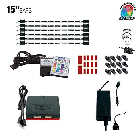 "Cyron True LED Multicolor RGB Light Kit, TV Lighting Accent, Under Cabinet Counter Lighting and Home Theatre Bar Light, Gun Safe Light, Video Production, Wireless Remote, Six 15"" LED Bars, 15 Ft Cords"