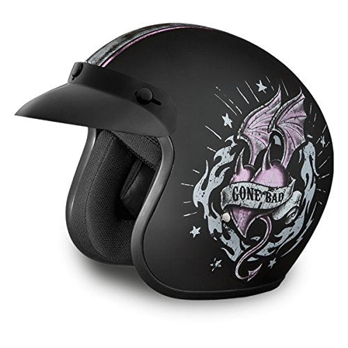 Womens DOT Good Girl Gone Bad Motorcycle Helmet (Size M, MD, Medium)