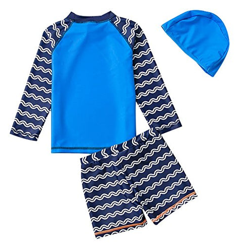 TAIYCYXGAN Baby Boys Two Pieces Swimsuit Set Kids Whale Swimwear Rashguard Bathing Suit With Hat UV Sun Protective Blue 3-4T