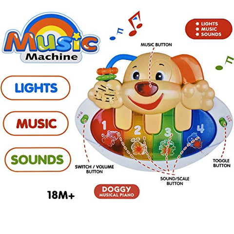 Discover and Play Music Piano For Your Mini Musician Bright Multi Colored Keys, Musical Instrument for Babies, Toddlers and Preschoolers