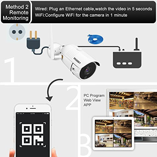 incoSKY Security Camera 720P Wireless WiFi Bullet IP Camera Built-in 8G SD  Card, IR Night Vision, Waterproof, Motion Detection Alarm for Home