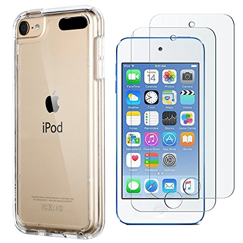 lowest price 008ef aed66 iPod Touch Case with 2 Screen Protectors,iPod 6 Cases, ULAK CLEAR SLIM Soft  TPU Bumper Case for iPod Touch 5/6th Generation Hard Cover (Clear)