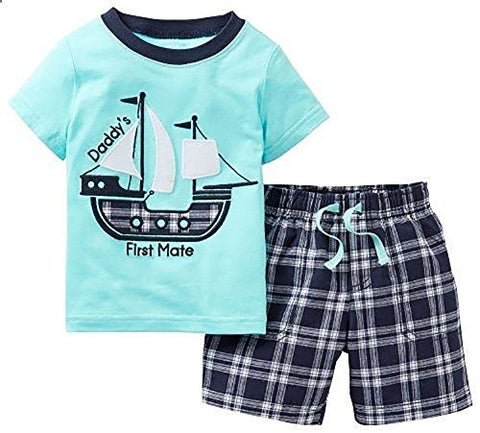 Heris Little Boys' Summer Cotton Short Sleeve Clothing Sets(Blue2/5T)