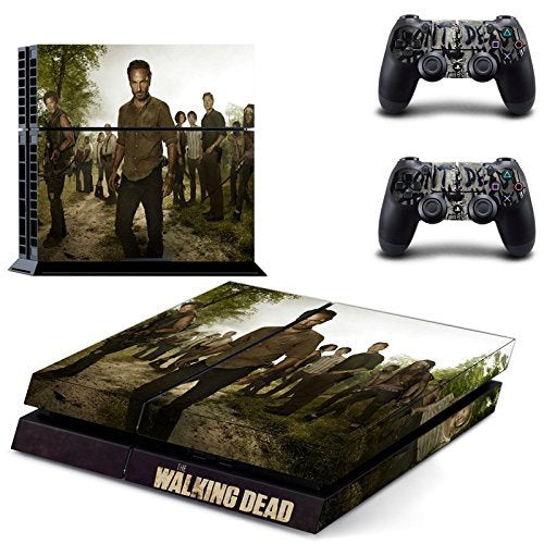 Ambur®Ps4 Console Designer Protective Vinyl Skin Decal Cover for Sony Playstation 4 & Remote Dualshock 4 Wireless Controller Stickers - ps4 skin the walking dead #3