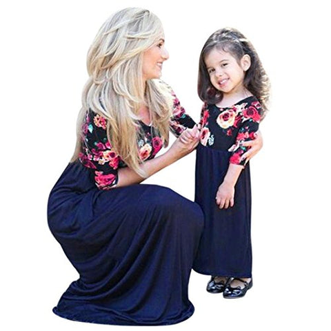 Remiel Store Mother Daughter Floral Print Half Sleeve Maxi Long Dress Family Matching Outfit (Girls  sc 1 st  KeeboShop & Girlu0027s Family Matching Outfits u2013 KeeboShop