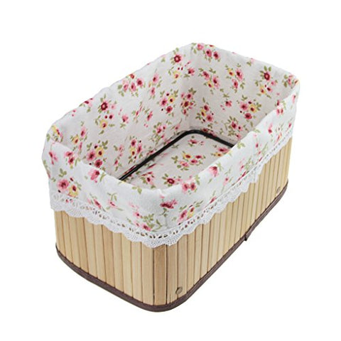 FakeFace Handmade Foldable Wicker Storage Basket with Liner Home Office Kitchen Desktop Closet Nursery Toys Books Tidy Tray Organizer Bin Bedroom Bathroom Toiletries Laundry Storage Tote Hamper Gift
