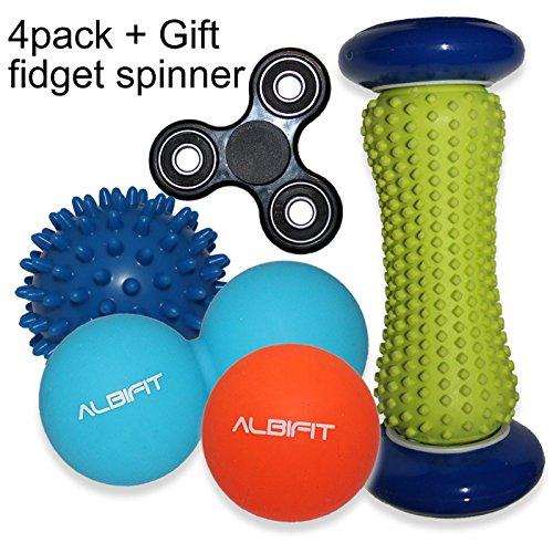 Massage Lacrosse Balls + Foot Roller With Carry Bag (4-Pack) + GIFT Fidget  Spinner | Muscle Trigger Point Physical Therapy balls | Deep-Tissue
