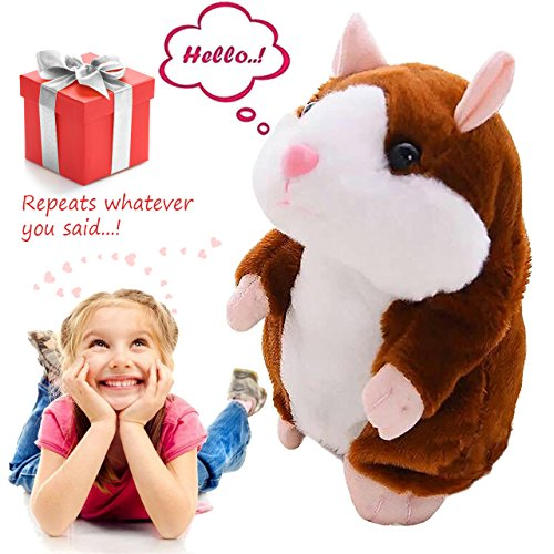 Talking Pet Hamster Electronic Animal Plush Toy - Mimics and Repeats After Words & Sounds - Special Gift for Kids Ages 4 - 100, Boys and Girls, Birthdays, Christmas by Neverland(Brown)