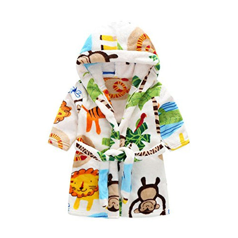 Unisexy Kids Soft Hooded Robe Toddler Bathrobe Children's Pajamas Baby Sleepwear (2T, Zoo)