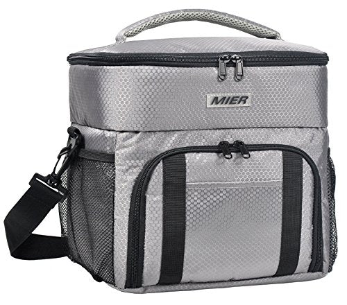 MIER Dual Compartment Insulated Lunch Box Bag Cooler Tote Meal Prep Bag for Fitness, Picnic, Beach, Travel, Work, Car, Grocery, Camping, Grey