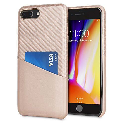 new arrival 72d0c 43d01 Olixar iPhone 8 Plus/7 Plus Wallet Case - Credit Card Pouch - Carbon Fibre  - Wireless Charging Compatible Rose Gold