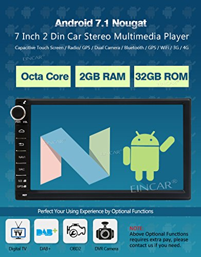 New Arrival - EinCar 7 Inch Car Stereo Android 7 1 2GB 32GB Head Unit  Double Din Octa Core Car Audio GPS Navigation Bluetooth Support AV Out  Subwoofer