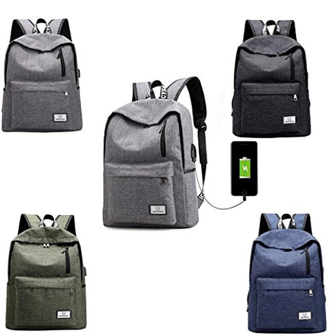 Backpack,AfterSo Unisex School travel Nylon Double Shoulder Bag with USB  Port (30cm  763b76df01