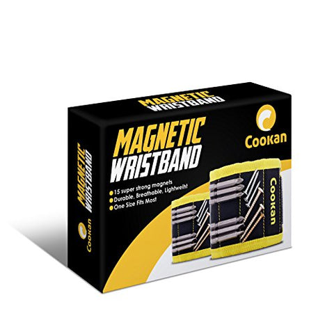 Magnetic Wristband with 15 Strong Magnets for Holding Screws, Nails, Bolts, Drill Bits and Small Tools - Cookan Wristband Tool for Men, Women, DIY Handyman, Dad, Husband, Boyfriend