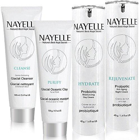 NAYELLE Natural and Organic Skin Care Set, Facial Cleanser/Day/Night Cream/Clay Mud Face Mask/Wash/Moisturizer for Oily, Dry, Sensitive Skin, Pack of 4