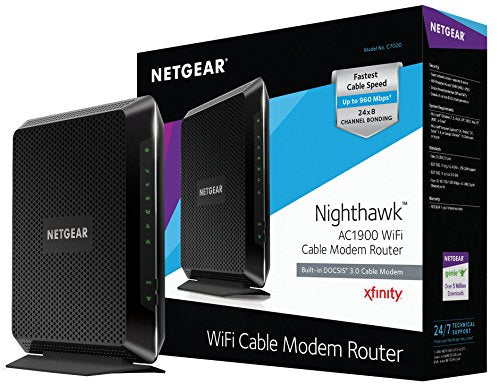NETGEAR Nighthawk AC1900 (24x8) DOCSIS 3.0 WiFi Cable Modem Router Combo (C7000) Certified for Xfinity from Comcast, Spectrum, Cox, & more
