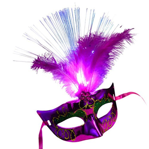 Mchoice HOT Women Venetian LED Fiber Mask Masquerade Fancy Dress Party Princess Feather Masks (Hot Pink)