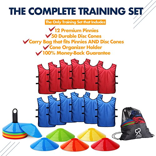 Soccer Cones (Set of 50) and Sports Jerseys Pinnies (12-pack)   Perfect  Disc Cones for Basketball Drills, Complete Soccer Training Equipment    Agility