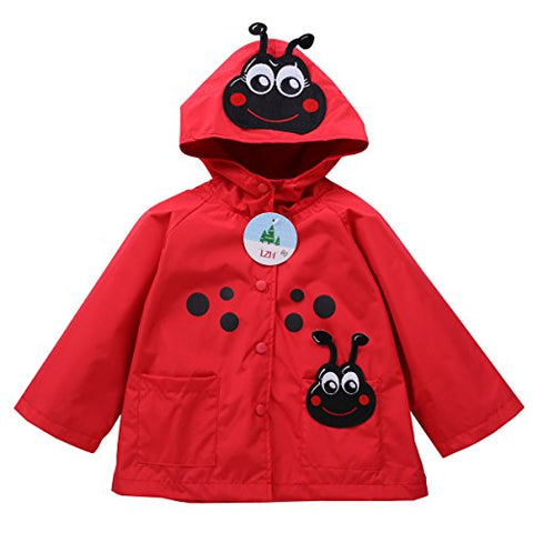 LZH Toddler Rain Jacket Girls Boys Raincoat Waterproof Hooded Bomber Coat