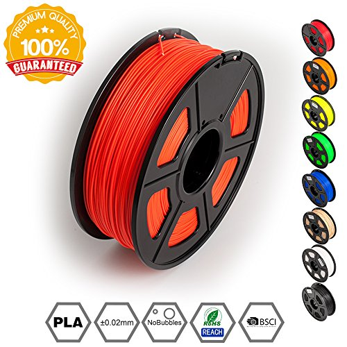 3D Printer Filament PLA Red- PLA Filament 1.75 mm SUNLU,Low Odor Dimensional Accuracy +/- 0.02 mm 3D Printing Filament,2.2 LBS (1KG) Spool 3D Printer Filament for 3D Printers & 3D Pens,Red