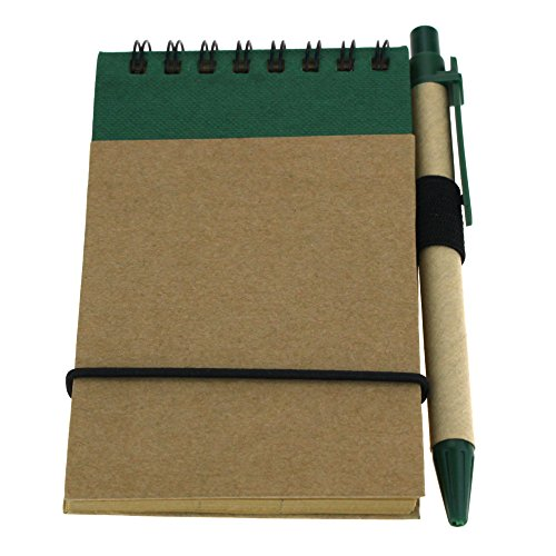 Mini Recycled Spiral Notebook Matching Colored Pen 50 Pages Green