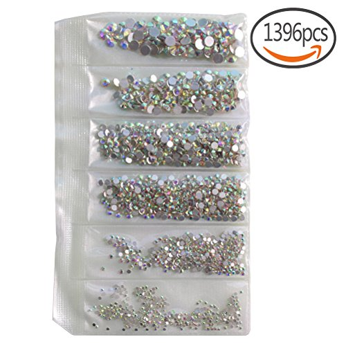 1.5mm- 5mm 6size Nail Rhinestones 1396pcs AB Round Crystals Nail Art Flat Backs Rhinestones Flatback Artificial Gems Stone for Nail Decoration, Crafts, Eye Makeup, body, Clothes, Shoes by sticro
