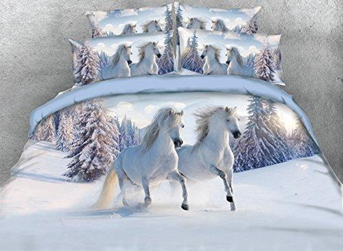 White Comforter Sets Full,Luxury Horse Bedding,1 Bed Sheet,1 Quilt/Duvet Cover Full,1 White Bedspread/Comforter,2 Pillow Shams,5 Piece Soft 3D Bedding Sets Twin/Queen/King,White
