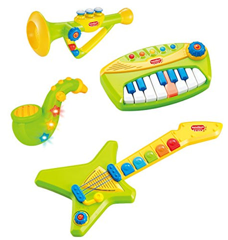 Liberty Imports 4-in-1 Musical Instruments Band Playset for Kids - Comes with Keyboard, Guitar, Saxophone & Trumpet (with Lights and Volume Control) (Green)