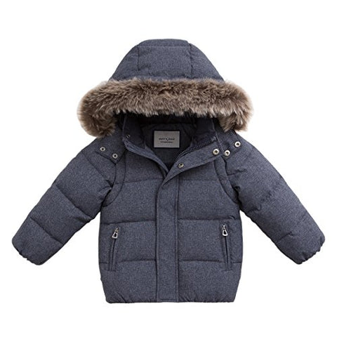 marc janie Baby Toddler Boys' Thicken Removable Hood and Sleeve Down Parka with Faux Fur Trim 5T Blue Grey