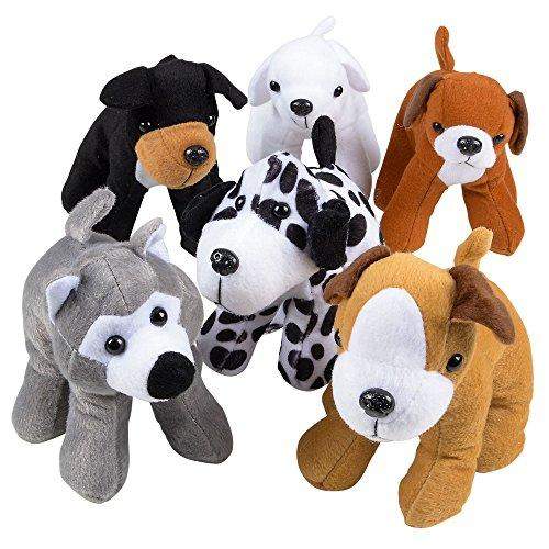 --Stuffed Animals Bulk - Pack of 12 Plush Puppy Dogs Assorted Puppies 6 Inches Tall and Cute Stuffed Puppies Assortment for Gifts for Kids and Toddlers and Cute Party Favors - By Bedwina--