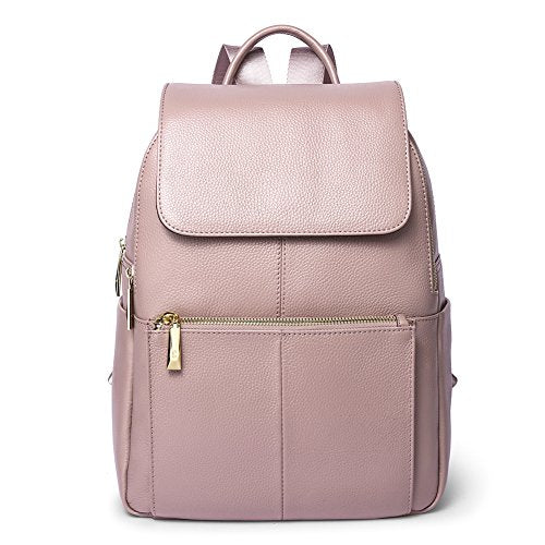 218b14b9d3f Big Sale Women Genuine Leather Backpack Purse Daily Casual Travel Ladies  Schoolbag Large Daypack Laptop by Callaghan Light Pink