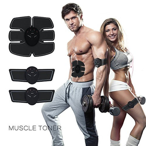 Muscle Toner & ABS Stimulator -Electric Abdominal Toning Belt Exercise Machine Body Muscle Trainer Wireless Portable Unisex Home Fitness Workout Ultimate Fat Burner Equipment for Abdomen Arm Waist
