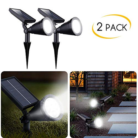 2 Pack Upgraded Outdoor Solar Spot Lights - Waterproof Adjustable Yard Lights Solar Landscape Lights for Outdoor Garden Pathway Driveway Lawn Walkway Lighting Illumination, Auto On/Off Bright White