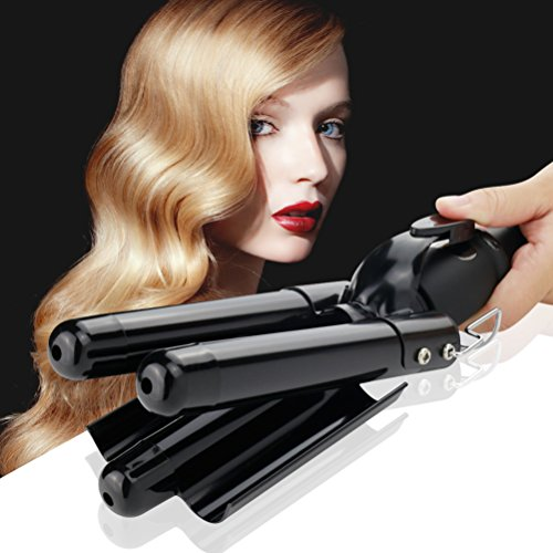 Digital Curling Iron,Ceramic 3 Barrel Jumbo Curling Wand Fast Safe Beach Waver Curling iron with LCD Display (Black)