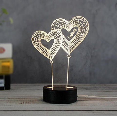 ETIAL LED Night Light Lamps, Ambient Mood Lighting 3D Optical Illusion USB Table Desk Visual Lamp Gifts Toys for Children Kids (Loving Heart)