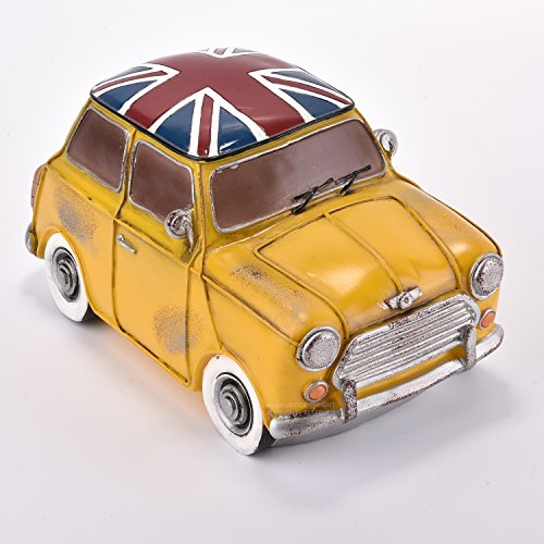 Amazlab Retro Yellow Mini Cooper Car Shaped LED Table Night Lamp, Nursery Night Light, Lamps for Kids Bedroom Living Room with USB Charging Port and Battery Operated,4 hours Timer, Warm White