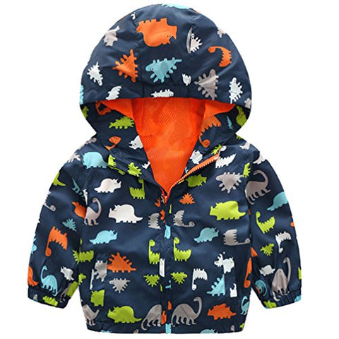 lymanchi Kids Baby Boy Casual Windbreaker Outerwear Dinosaur Printed Zipper Hooded Jackets Coat Navy Dinosaur 4T