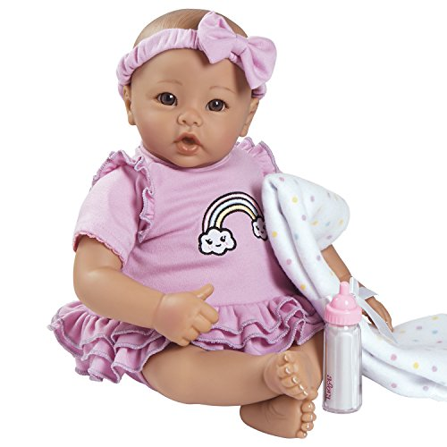 "Adora BabyTime Lavender 16"" Girl 3 Piece Weighted Play Doll Gift Set for Toddlers 3+ Includes Bottle & Blanket Snuggle Soft Huggable Vinyl Toy"