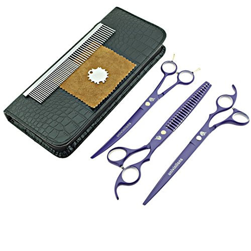 Jiansy Scissors Pet Shears Dog Grooming Scissors Cutting Dog Cat Animal Hair Scissors Curved Dog Hair Clippers Violet