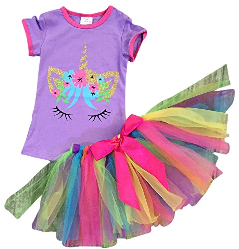 34e184ae6b56 BluNight Collection Girls 2 Pieces Skirt Set Unicorn Floral Top Colorful  Tutu Skirt Clothing Set Lilac