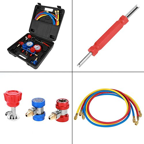 Fits R134a Air Conditioning Refrigerant Manifold Gauge Set with 1 5m  Charging Hoses、Pressure Adapter、Adapter、Storage Case and etc r134a manifold  gauge