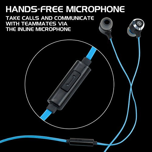 Gaming Earbuds Mobile Headset with Bass Vibration Feedback & Microphone for  PC , PS4 , Xbox One , Nintendo Switch by ENHANCE - Full Metal Housings ,