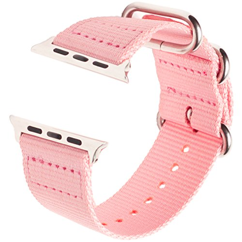 c991b28390e6 Apple Watch Band Pink Nylon 38mm- Womens Woven Canvas Material iWatch Strap  with Durable Stainless