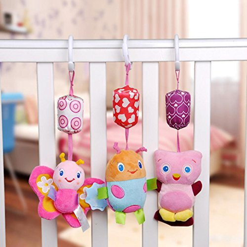Pausseo 3-Pack Baby Musical Bed Bell Toy Cute Animal Rattles Soft Plush Doll Crib Mobile Rotation Bells Stroller Hanging Rotating Rattles Dolls Infant Bedding for Kids Newborn Baby