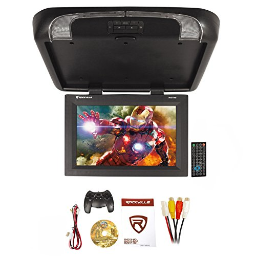 "Rockville RVD17HD-BK Black 17"" Flip Down Car Monitor DVD/HDMI/USB/SD/Games"