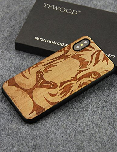 new product 43da3 fe63c iPhone X Wooden Case, Unique Handmade Natural Wood Engraving Lion Bumper  Case for Apple iPhone X