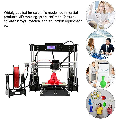 KKmoon Anet A8 Upgraded High Precision Desktop 3D Printer Reprap i3 DIY  Kits Self Assembly Auto Self-leveling Acrylic Frame with Aibecy Cleaning  Cloth