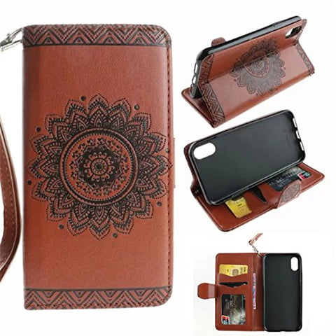 "iPhone X Case,Gift_Source [Emboss Mandala] [Stand Holder] Premium PU Leather Pouch Wallet Flip Magnetic Housing Cover Detachable Wrist Strap Case for Apple iPhone X (2017) 5.8"" [Brown]"