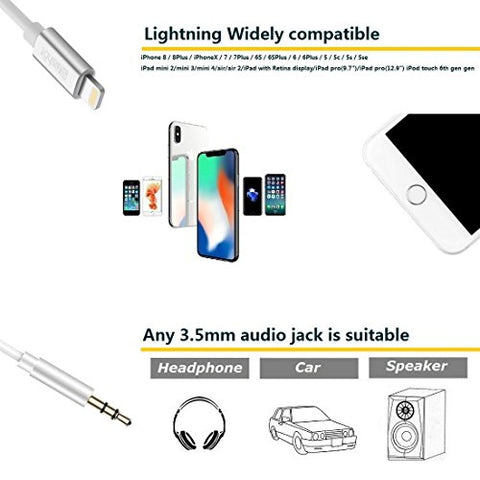[Upgraded] Lightning to 3.5mm Male Aux Stereo Audio Cable, Compatible with iOS 11 or Above, iPhone 7 / 7P / 8 / 8P / X or Any Lightning Port to Car Stereo Speakers or Headphone Audio Jack (Silver)