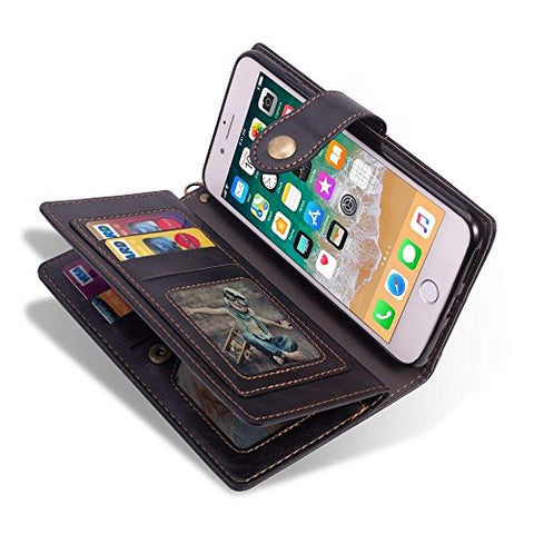 for iPhone 7 Case iPhone 8 Wallet Case LAPOPNUT Vintage Wallet PU Leather Flip Case Dual Folio Card Holder Housing with Wrist Hand Strap Magnetic Lock Kickstand Case Book Cover, Black